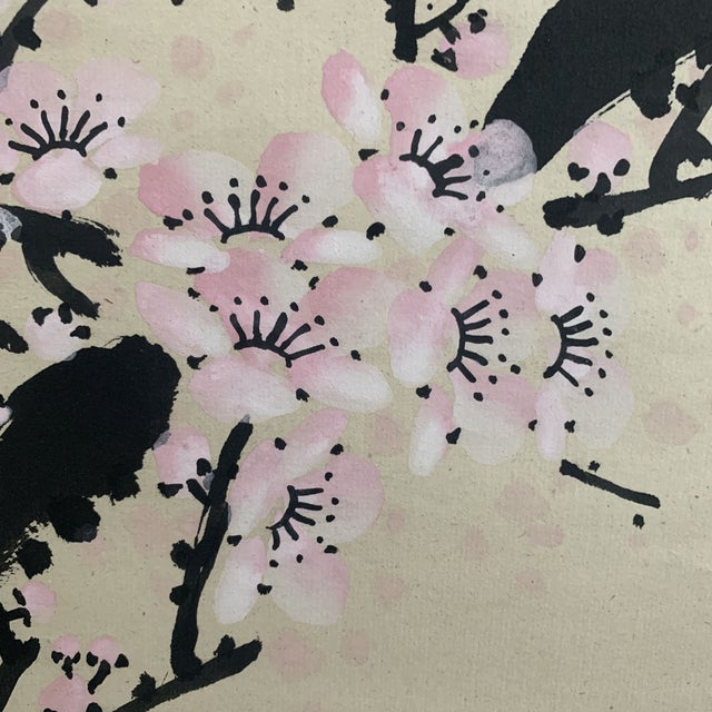 White 1950s Vintage Cherry Blossom and Moon Chinese Hanging Silk and Paper Scroll For Sale - Image 8 of 13