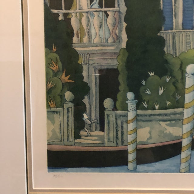 Thomas McKnight Framed Color Etching Venetian Idyll 99/100 Pencil Signed 1981 For Sale - Image 9 of 13