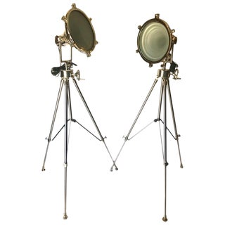 Hollywood Regency Industrial Chrome Spotlight Floor Lamps With Tripod Stand For Sale
