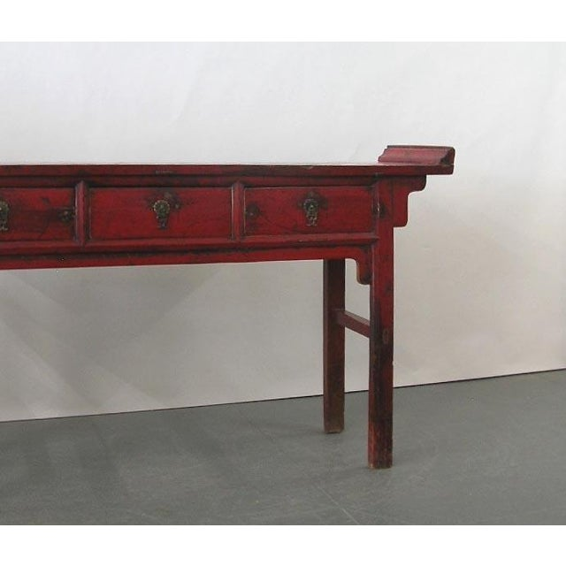 Chinese 19th Century Chinese Red Lacquer Country-Style Altar Desk/Console Table For Sale - Image 3 of 7