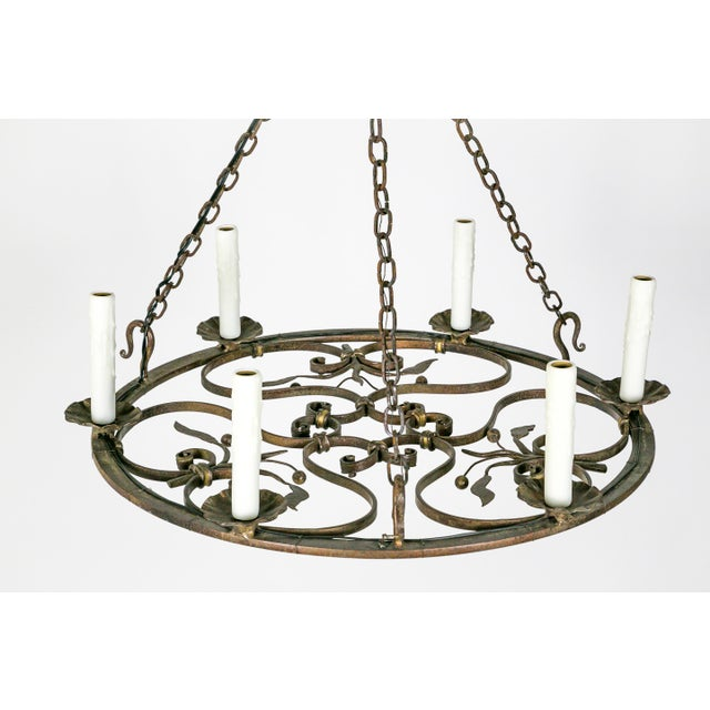 Hand Wrought Flat Leaf and Scroll Chandelier - Image 9 of 9