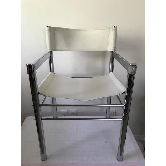 Bauhaus 1970's Mod Chrome and Pleather Chairs - Set of 4 For Sale - Image 3 of 10