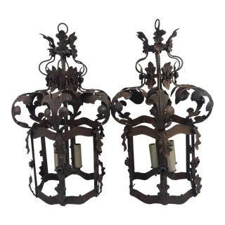 19th C. French Metal Lanterns - a Pair For Sale