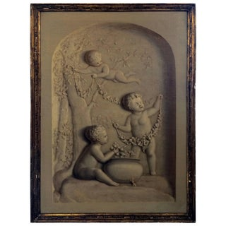 1900s French Trompe l'Oeil Oil Painting of Putti in a Niche For Sale