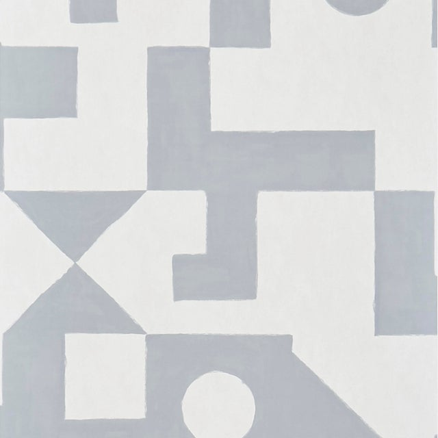 Schumacher Binary Wallpaper in Silver For Sale In New York - Image 6 of 6
