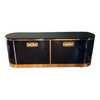 1970s Art Deco Mastercraft Black Lacquer and Brass Sideboard Credenza For Sale