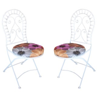 Scrolling Cast Iron Folding Patio Outdoor Chair, Pair For Sale