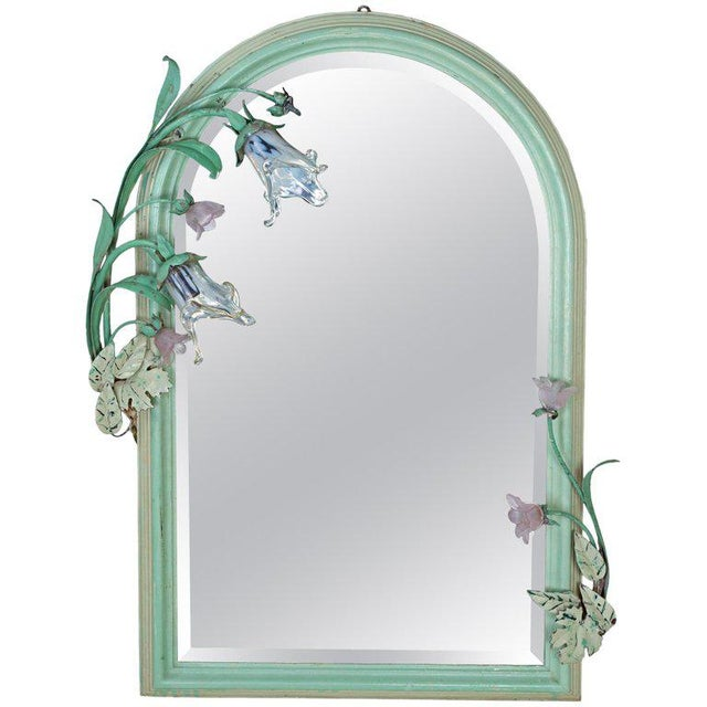Art Nouveau Original Paint Mirror With Glass Flower Lights For Sale - Image 10 of 10