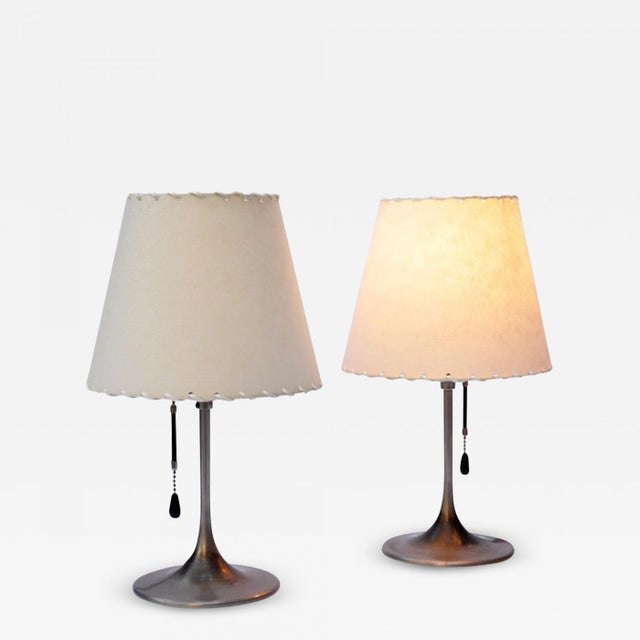 Animal Skin Pair of Bronzewarenfabrik 1930's Bedside Lamps For Sale - Image 7 of 7