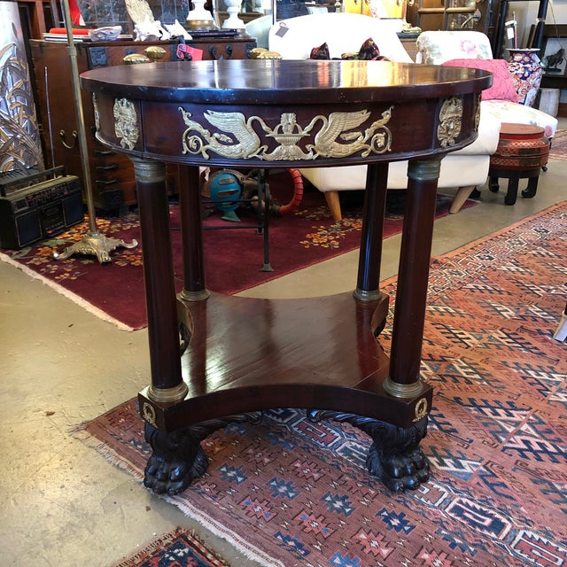 1800 French Round Gueridon Side Table With Bronze Ormolu Details For Sale In Minneapolis - Image 6 of 13