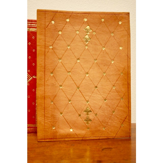 Gold Stamped Moroccan Leather Book Covers - A Pair - Image 3 of 11