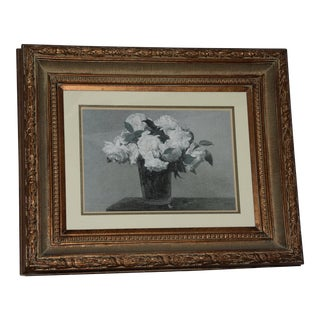 Floral and Botanical Art' Framed Floral Print Art Wrapped in Ornate Guilted Frame For Sale