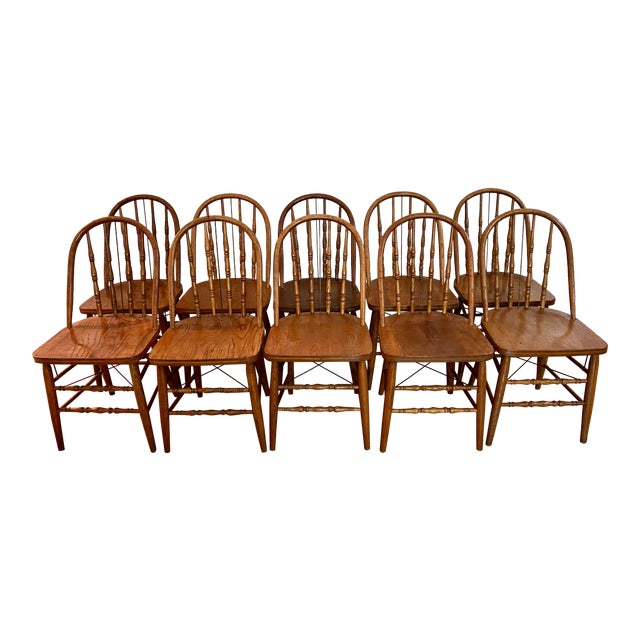 Antique Bow Back Windsor Chairs - Set of 10 For Sale