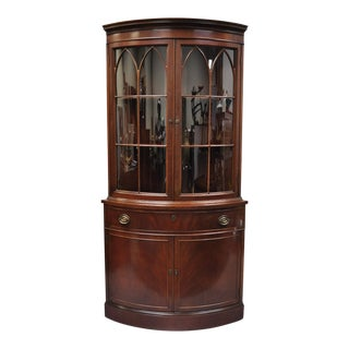 Early 20th Century Antique Finch Mahogany Bow Front Glass Corner China Cabinet
