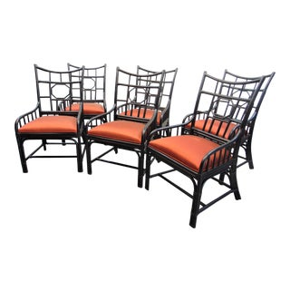 Palecek Ebonized Bamboo Chairs - Set of 6 For Sale
