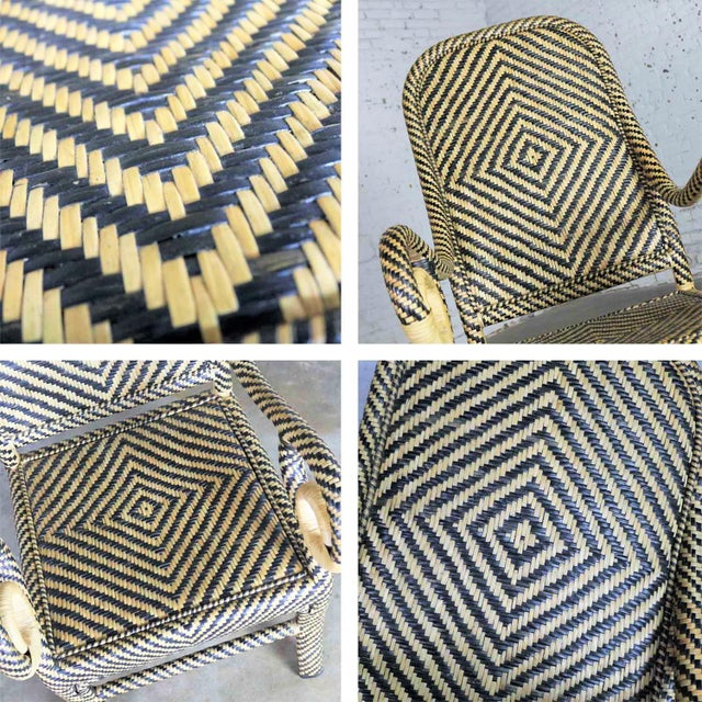 Two-Tone Chevron Pattern Rattan Wicker Tall Back Chair With Spiral Arms For Sale - Image 12 of 13