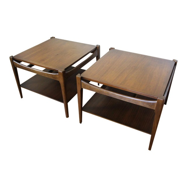 Mid Century Modern Bassett Walnut End Tables Side Tables Square