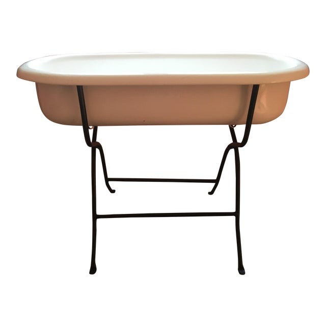 Vintage Hungarian Baby Tub on Stand For Sale