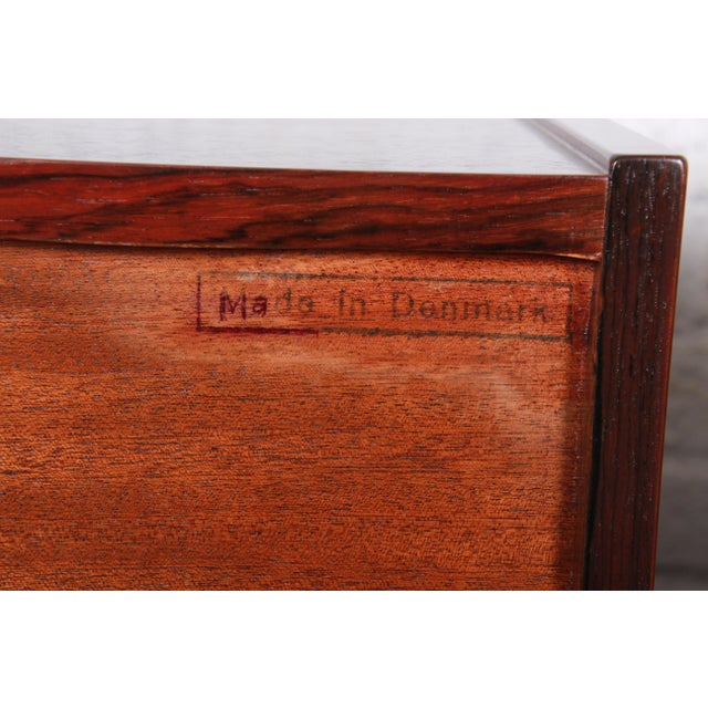 Danish Modern Rosewood Bachelor Chests or Large Nightstands, Newly Restored For Sale - Image 12 of 13