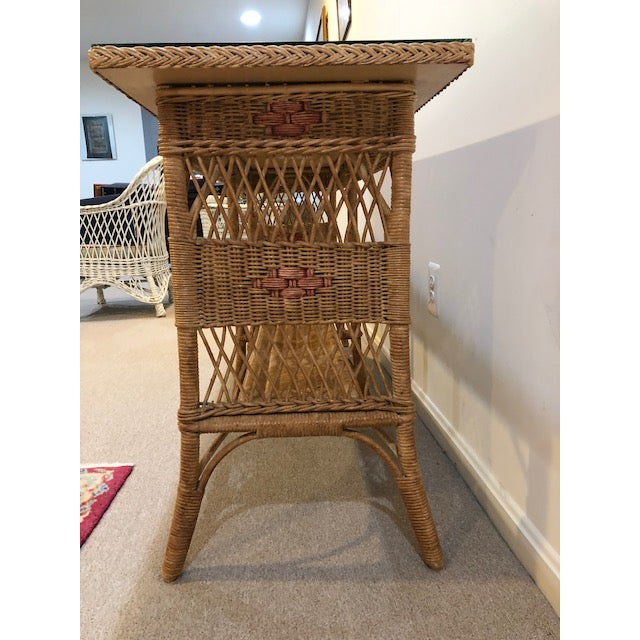 Boho Chic 1950s Vintage Wicker Console Table For Sale - Image 3 of 9