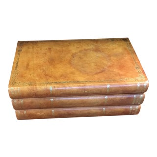 John-Richard Leather Bound Book Box For Sale