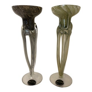 Vintage Krosno Jozefina Art Glass Candle Holders - Set of 2 For Sale