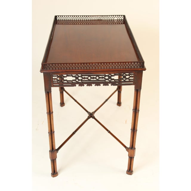 Chippendale Chinese Chippendale Style Mahogany Tea Table For Sale - Image 3 of 13