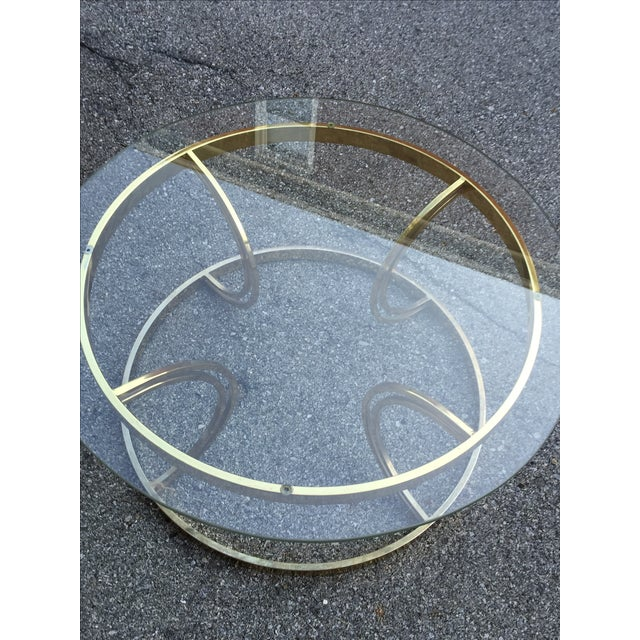 Crescent Base Brass Cocktail Table - Image 3 of 6