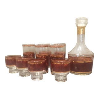 Culver Mid-Century Tortoiseshell Glassware & Decanter - Set of 10 For Sale
