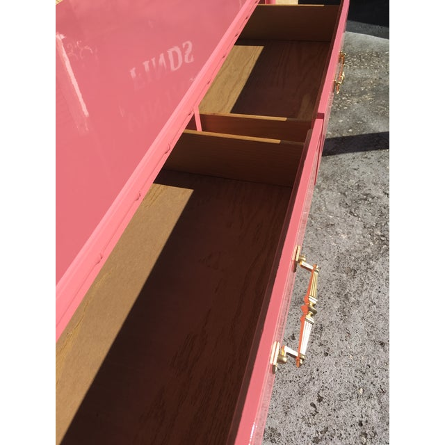 Hollywood Regency Lacquered Pink Faux Bamboo 6 Drawer Lowboy Dresser For Sale In Tampa - Image 6 of 12