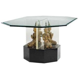 Contemporary Glass Center Table With Thai Buddas For Sale