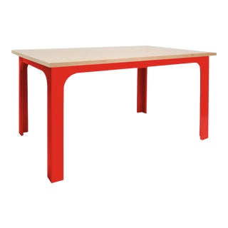 "Craft Kids 42"" Table in Birch With Red Finish For Sale"
