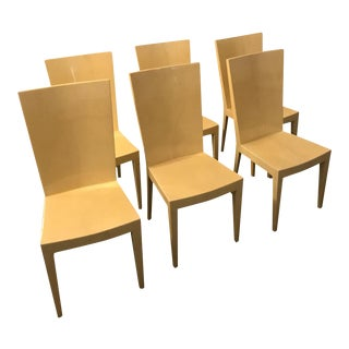 S/6 Mid Century Modern Lacquered Goat Skin Parchment Karl Springer JMF Dining Chairs / Side Chairs