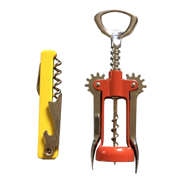 Vintage Italian Corkscrews in Red and Yellow - a Pair For Sale