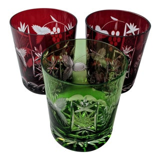 1980s Vintage Ajka Lead Crystal Double Old Fashioned Whiskey Glasses - Set of 3 For Sale