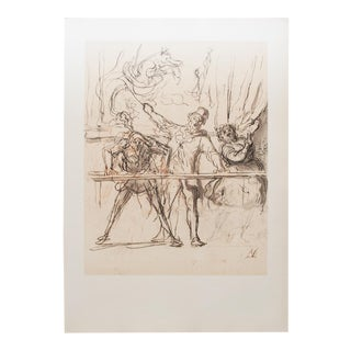 1959 Honoré Daumier, Original Circus Parade Vintage Hungarian Photogravure For Sale