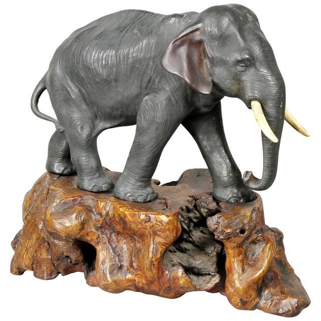 Japanese Bronze Elephant on Burl Wood Base For Sale - Image 10 of 10