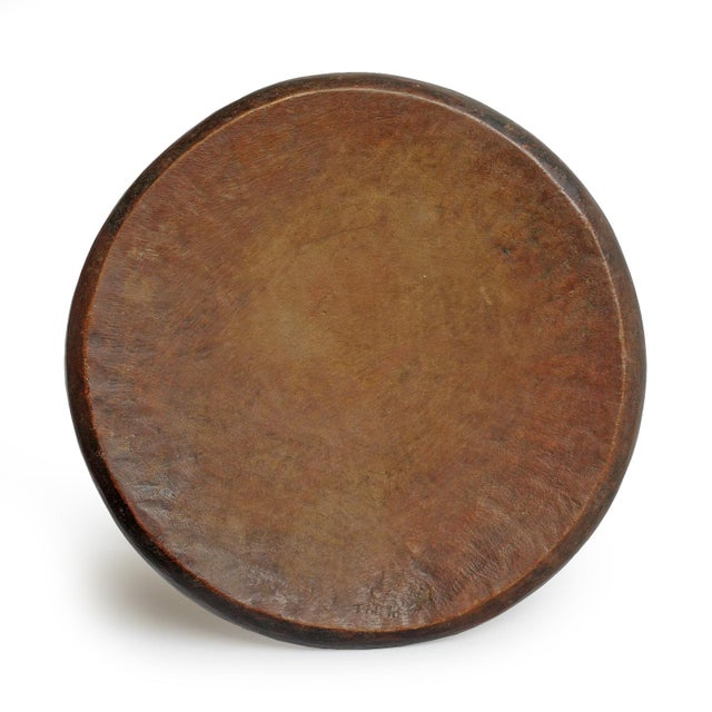 Authentic early 19th century Mangbeto wood stool from Democratic Republic of Congo. Beautiful aged patina with signs of...
