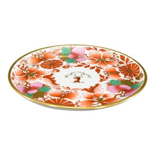 Worcester Barr, Flight & Barr Imari Pink and Green Footed Cake Plate with Deer For Sale