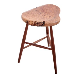 California 1970s Burl Wood Studio Bar Stool For Sale