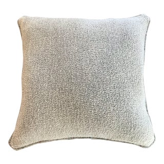 British Wool Chenille Pale Blue Green Pillow With Plaid Piping and a Pale Blue Green Linen Back (New) For Sale