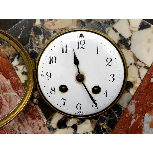 Art Deco French Art Deco Marble Mantle Clock For Sale - Image 3 of 12