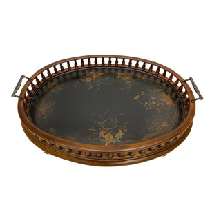Mahogany Oval Gallery Tray For Sale
