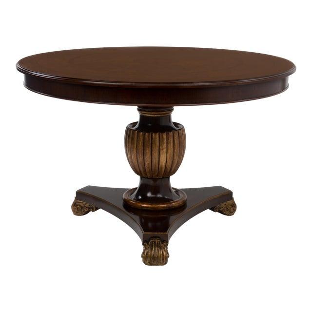 Italian Center Table Pedestal Base Inlaid Mahogany Burl Gilt Italy 1970s For Sale