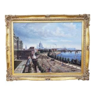 Original Joseph Fishman Oil Painting Canvas Victorian Cityscape Gilt Gold Frame For Sale