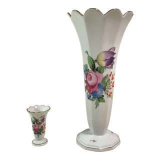 Herend Fluted Porcelain Vases - A Pair