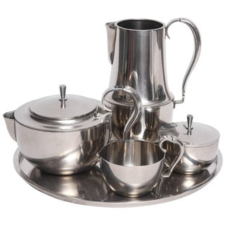 Mid-Century Modern Stainless 5 Pc. Coffee Service by Georg Jensen, Denmark, 1960s For Sale