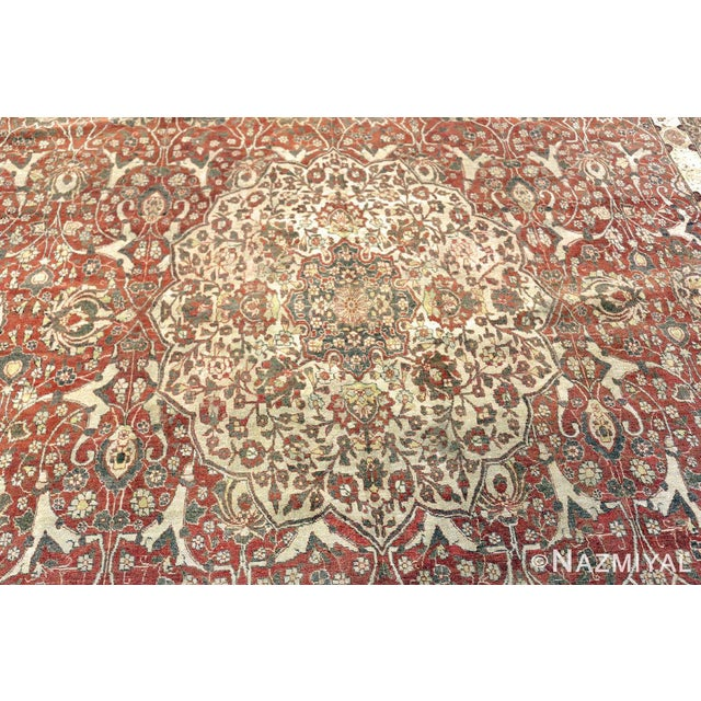 Textile Room Size Antique Persian Tabriz Rust Color Rug - 10′7″ × 14′5″ For Sale - Image 7 of 11