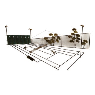 1970s Vintage Tennis Match Mixed Metal Wall Sculpture Signed C Jere For Sale
