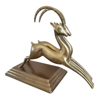 Mid Century Brass Leaping Gazelles For Sale